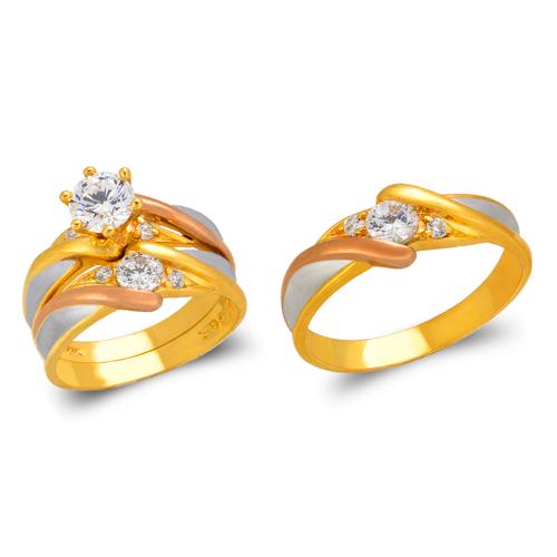 473-810TS Tricolor Wedding Trio Ring Set