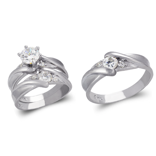 473-810WS White Wedding Trio Ring Set