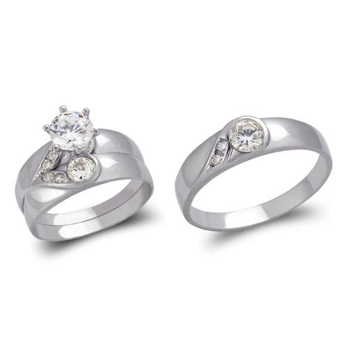 473-813WS White Wedding Trio Ring Set