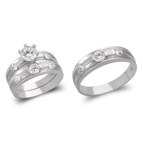 473-816WS White Wedding Trio Ring Set