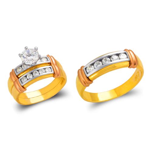 473-819TS Tricolor Wedding Trio Ring Set