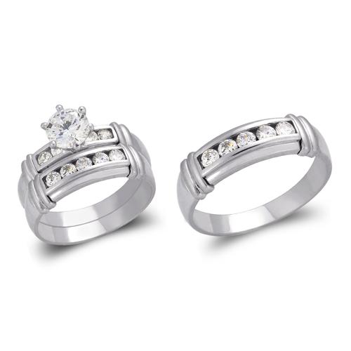 473-819WS White Wedding Trio Ring Set