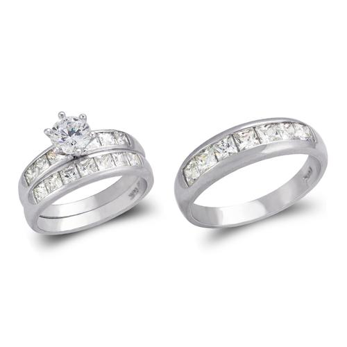 473-822WS White Wedding Trio Ring Set