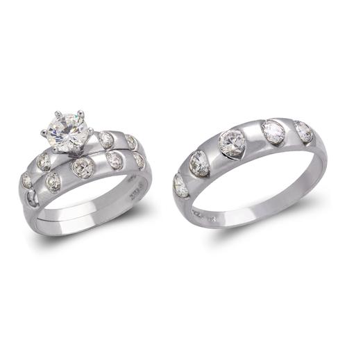 473-831WS White Wedding Trio Ring Set