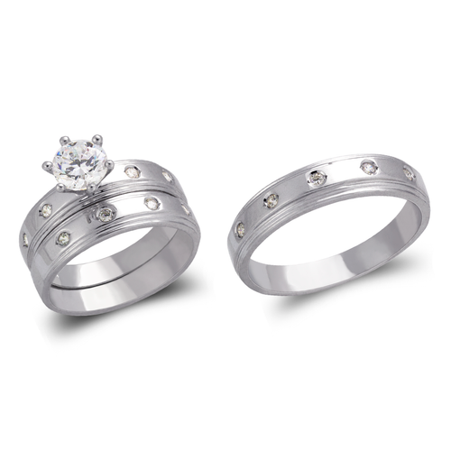 473-834WS White Wedding Trio Ring Set