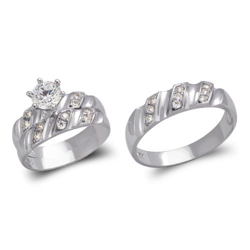 473-840WS White Wedding Trio Ring Set