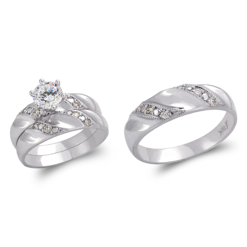 473-843WS White Wedding Trio Ring Set