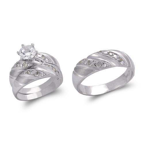 473-846WS White Wedding Trio Ring Set