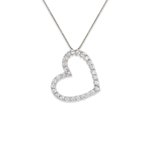 661-002W 21mm Heart CZ Pendant