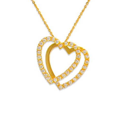 661-004 Two Hearts CZ Pendant