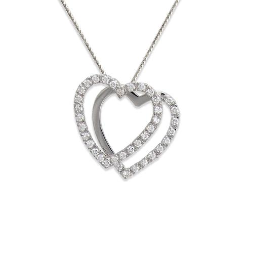 661-004W Two Hearts CZ Pendant