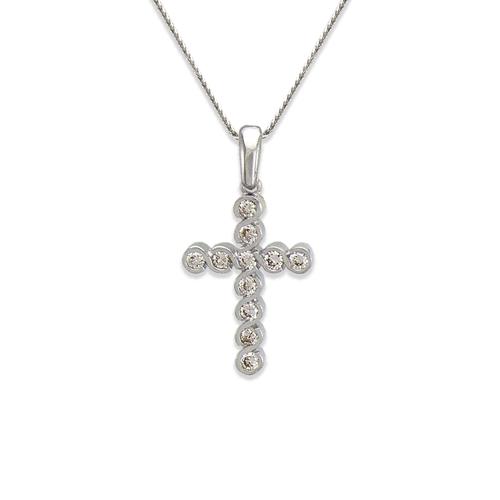 661-021W Cross CZ Pendant