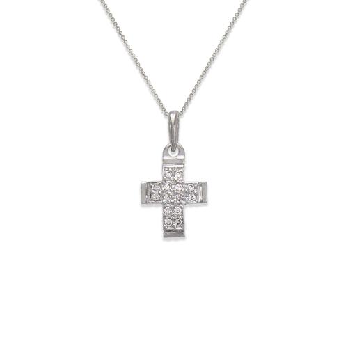 661-022W Cross CZ Pendant