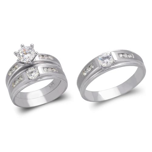 473-616WS White Wedding Trio Ring Set