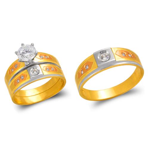 473-622TS Tricolor Wedding Trio Ring Set