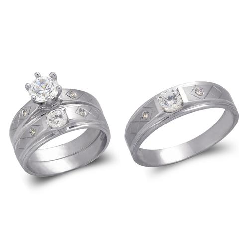 473-625WS White Wedding Trio Ring Set