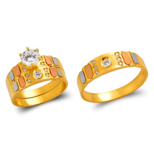 473-628TS Tricolor Wedding Trio Ring Set
