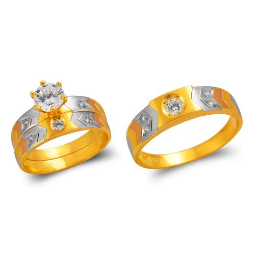 473-631TS Tricolor Wedding Trio Ring Set
