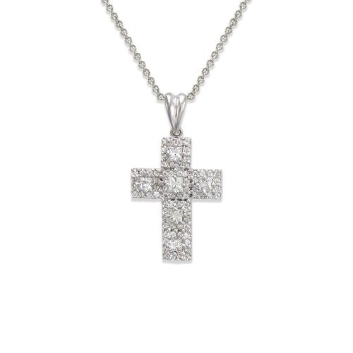 661-109W Cross CZ Pendant