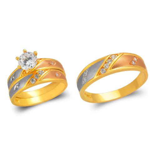 473-634TS Tricolor Wedding Trio Ring Set