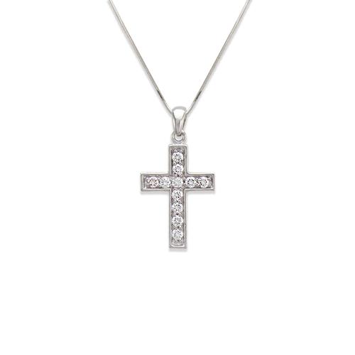 661-110W Cross CZ Pendant