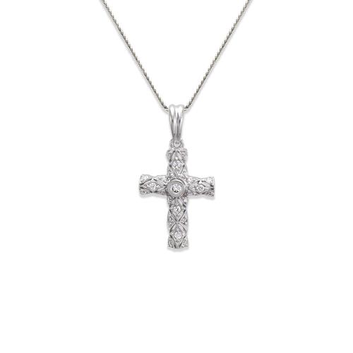 661-111W Cross CZ Pendant