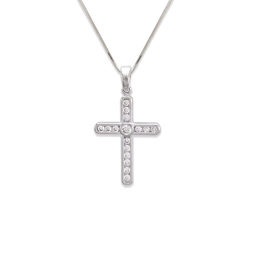 661-113W Cross CZ Pendant