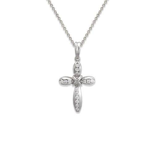 661-114W Cross CZ Pendant