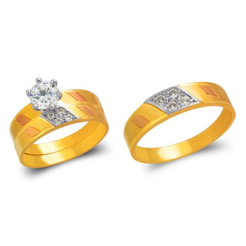 473-637TS Tricolor Wedding Trio Ring Set