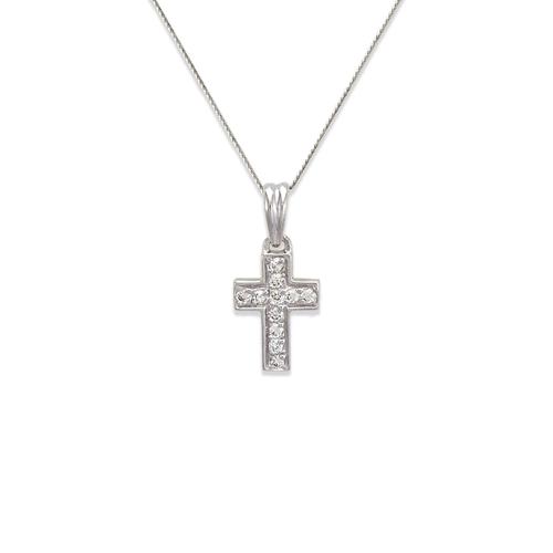 661-117W Cross CZ Pendant