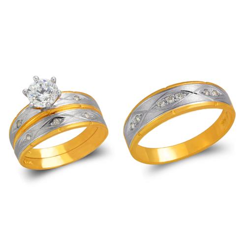 473-640ZS Two Tone Wedding Trio Ring Set