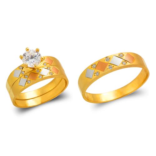 473-643TS Tricolor Wedding Trio Ring Set