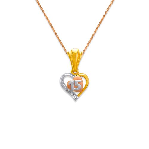 563-201 15 Anos Heart CZ Pendant