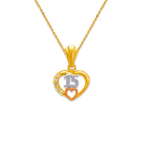 563-202 15 Anos Heart CZ Pendant