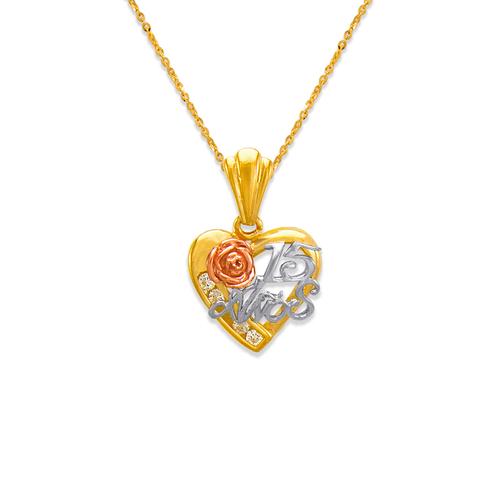 563-203 15 Anos Heart CZ Pendant