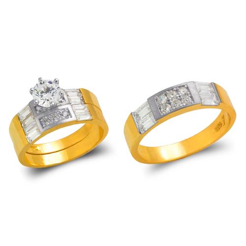 473-655ZS Two Tone Wedding Trio Ring Set