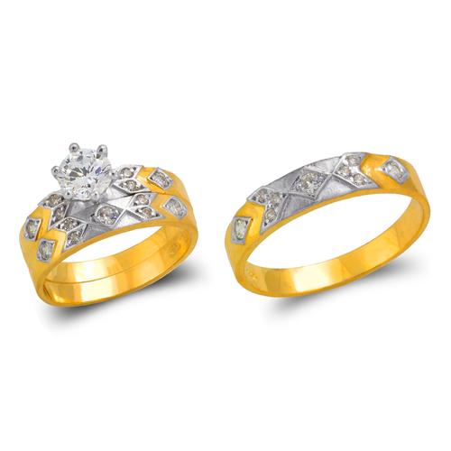 473-658ZS Two Tone Wedding Trio Ring Set