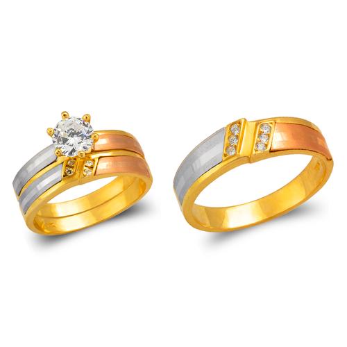 473-661TS Tricolor Wedding Trio Ring Set