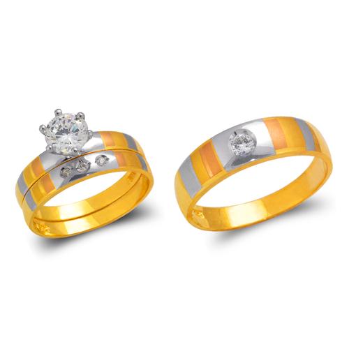 473-667TS Tricolor Wedding Trio Ring Set