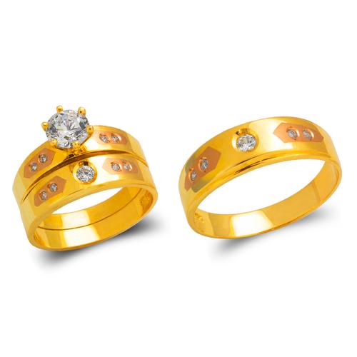 473-673TS Tricolor Wedding Trio Ring Set