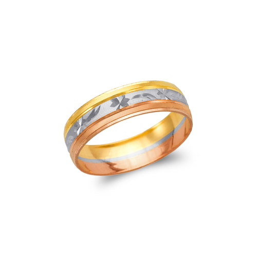 372-007T Tricolor Shooting Star Stamping Wedding Band