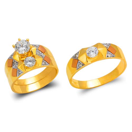 473-676TS Tricolor Wedding Trio Ring Set