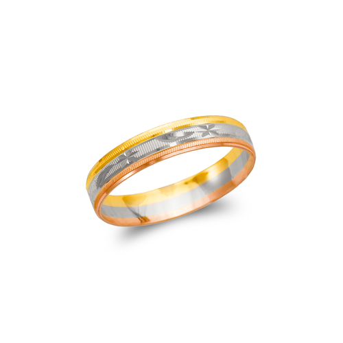 372-010T Tricolor Shooting Star Stamping Wedding Band
