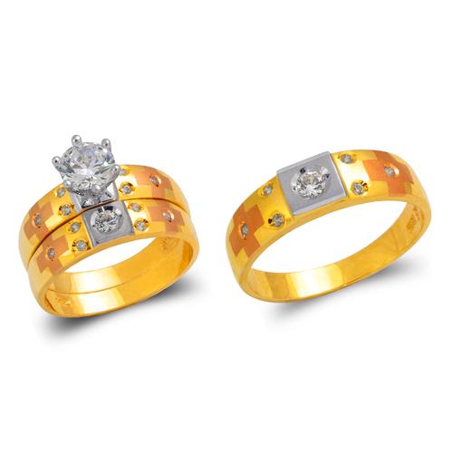473-679TS Tricolor Wedding Trio Ring Set