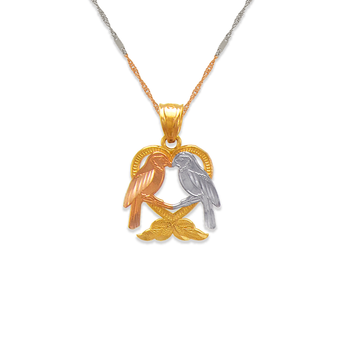 568-128 Two Doves Kissing in a Heart Pendant