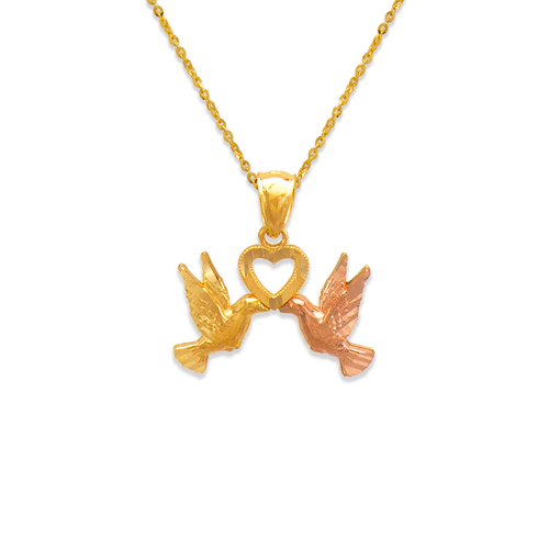 568-129 Two Doves Kissing with Heart Pendant