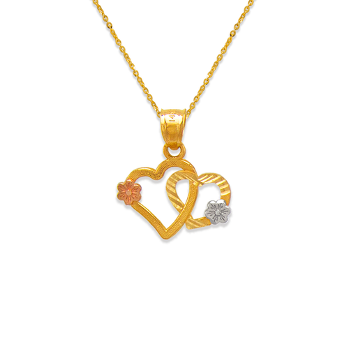 568-131 Two Hearts and Flowers Pendant
