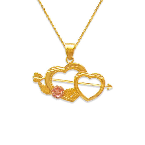 568-133 Two Hearts and Arrow Pendant
