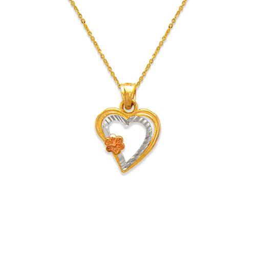 568-137 Two Hearts with Flower Pendant