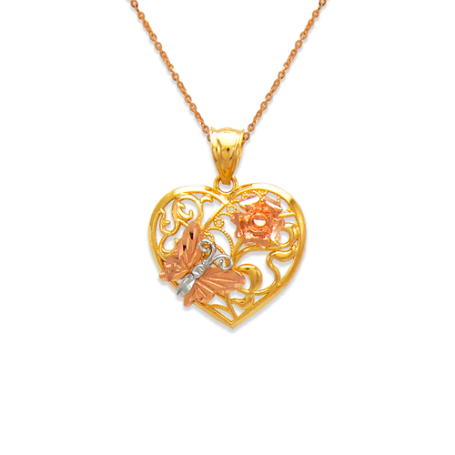 568-172 Butterfly and Rose Heart Pendant
